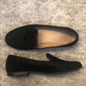Black cow hide loafers